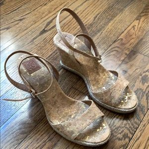 Tory Burch cork wedge nude sandals 8